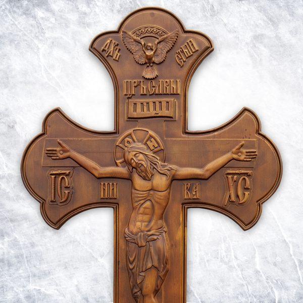 Крест «Резной №1» (орех / бронза)