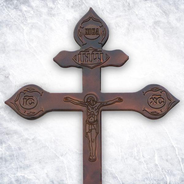 Крест «Сосновый фигурный с декором» темный