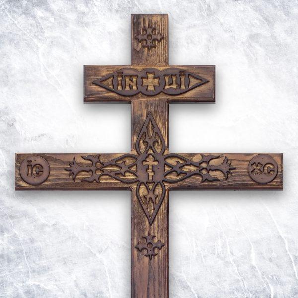 Крест «Сосновый фигурный с декором» состаренный