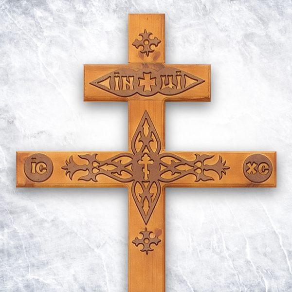 Крест «Сосновый прямой с декором» светлый