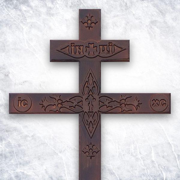 Крест «Сосновый прямой с декором» темный