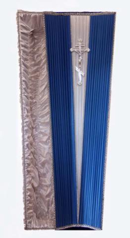 Гроб «Смокинг» синий с серебром с атласной постелью