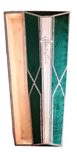 Гроб восьмерка зеленая с серебром